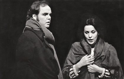 Anthony Michaels-Moore and Angela Gheorghiu in Puccini's <em>La boheme</em> at the Royal Opera House, Covent Garden, 1994