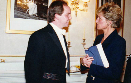 Anthony Michaels-Moore and Princess Diana at the Royal Opera House in London, 1994