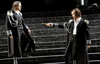 Anthony Michaels-Moore and Enrique Ferrer in <em>La Forza del Destino</em> at Oper Köln, 2012. Production by Olivier Py. Photo by Paul LaClaire.